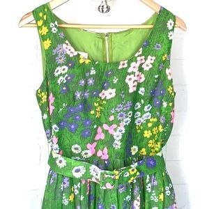 Miss Elliette Dress vintage green floral maxi belt